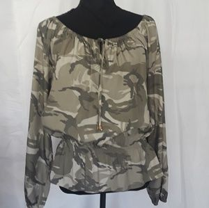 Michael Kors Ruched Camouflaged Blouse